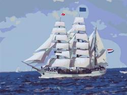 Рисование по номерам (на холсте) 30х40 2003HS Парусник в море