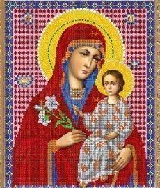 """Канва с нанесённым рисунком для вышивания бисером 421Б """"Прсв.Богородица Благоуханный цвет"""""""