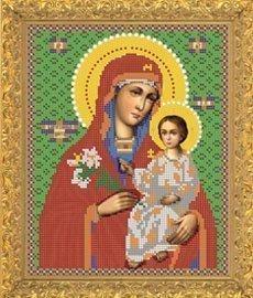 """Рисунок на ткани для вышивания бисером Бис 421 """"Прсв.Богородица Благоуханный Цвет"""""""
