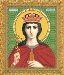 """Рисунок на ткани для вышивания бисером Бис 706 """"Святая Великомученица Екатерина"""""""