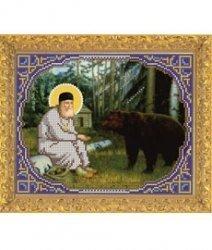 """Набор для вышивания бисером 8367 """"Прп.Серафим Саровский кормит медведя"""""""