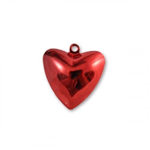 Бубенчики-сердце 2см (глянц., красные)