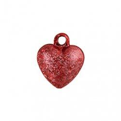 Бубенчики-сердце 1см (матов., красные)