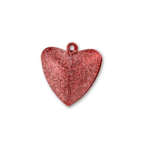 Бубенчики-сердце 2,5см (матов., красные)