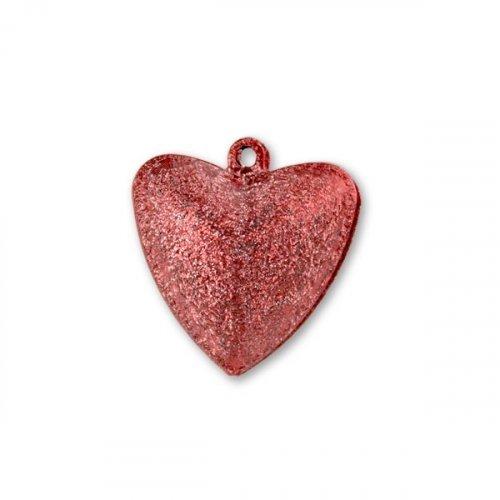 Бубенчики-сердце 3,2см (матов., красные)