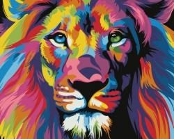Рисование по номерам (на холсте) 40х50 0129HS Радужный лев