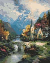 Рисование по номерам (на холсте) 40х50 1251HS Горный пейзаж с церквушкой
