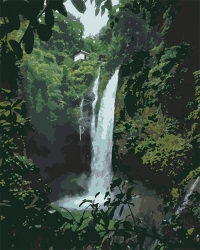 Рисование по номерам (на холсте) 40х50 1291HS Водопад в джунглях