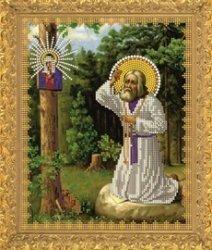 """Рисунок на ткани для вышивания бисером Бис 330 """"Св.Прп.Серафим Саровский в лесу"""""""