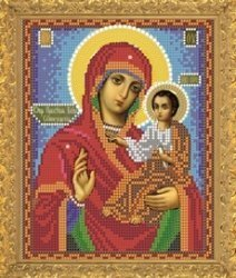 """Рисунок на ткани для вышивания бисером Бис 383 """"Прсв. Богородица Семиозерская"""""""