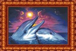 Канва для бисера КБ-1001 Дельфины под луной