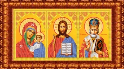 Канва для бисера КБИ-4103 Триптих (БМ Казанская, Спаситель, Николай) 18х23 см