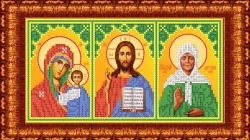 Канва для бисера КБИ-4103/1 Триптих (БМ Казанская, Спаситель, Матрона) 18х23 см