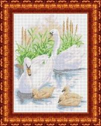 Канва для бисера КБЖ-3023 Лебединое семейство