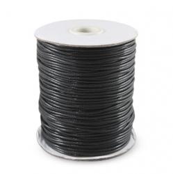 Шнур вощёный 2 мм чёрный Корея