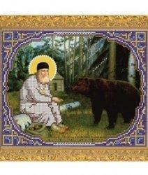 """Рисунок на ткани для вышивания бисером Бис 367 """"Прп. Серафим Саровский кормит медведя хлебом"""""""
