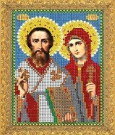 """Рисунок на ткани для вышивания бисером Бис 344 """"Св.Куприян и Устиния"""""""