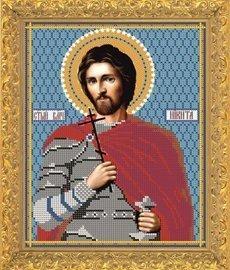 """Рисунок на ткани для вышивания бисером Бис 700 """"Святой Великомученик Никита"""""""