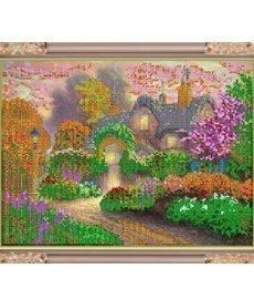 """Рисунок на ткани для вышивания бисером К-230 """"Цветы в саду"""""""